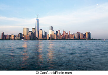 Skyline of Lower Manhattan at dusk - Skyline of lower...