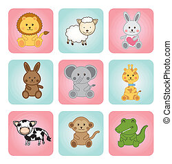 animal babies over white background vector illustration