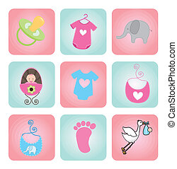 baby shower icons over white background vector illustration