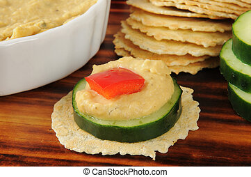 Healthy canapes - Healhty canapes with cucumber, red pepper...
