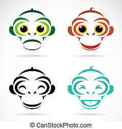 Vector image of an monkey on white background