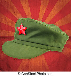 chinese red star cap with red ray vintage background style...