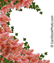 Floral Border Pink Azaleas - Illustration and image...