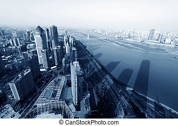 Shanghai - Aerial skyscrapers in big cities