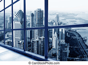 Skyscrapers in big cities - The landscape outside the...