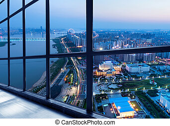 Shanghai Night - Out of the window of the big city at night