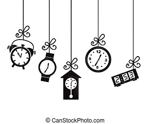 clock icons over white background vector illustration