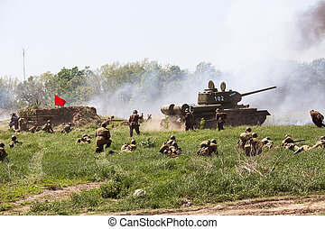 Historical reenactment of WWII in Kiev, Ukraine - KIEV,...
