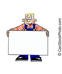 Man with blank panel