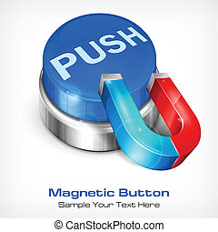 Blue button with magnet