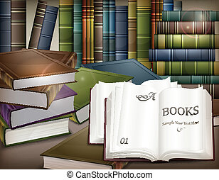 Book stacks on table - New book stacks and open on desk,...