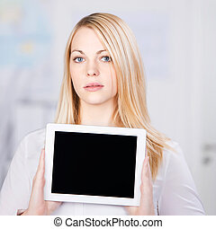 Confident Young Businesswoman Holding Digital Tablet