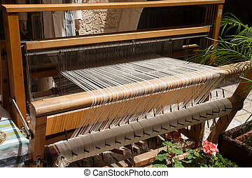 All strings attached - Textile abstract image - Hand loom in...