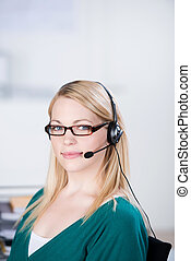 Customer Service Executive Using Headset