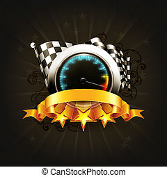 Racing emblem on black