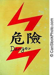 Danger Sign in Chinese and English