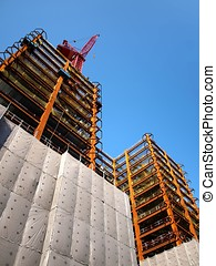 Modern Highrise Construction with Red Crane