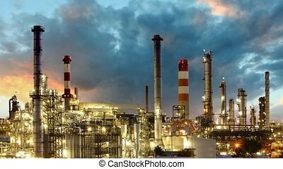 Oil Industry - refinery plant, time lapse