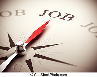 Job Search Concept, Career Counseling - Needle of a compass...