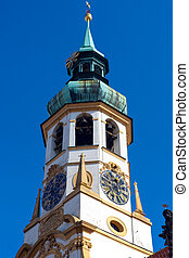 Belfry of the church Loreta - Loreta is an ornate baroque...
