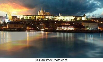 Prague castle at sunrise - time lap