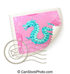Dragon, vector postage stamp