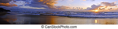 Panorama from a beautiful sunset at Praia Vale Figueiras in...