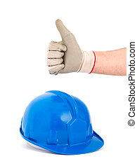 Safety helmet and hand expressing positivity with ok symbol....
