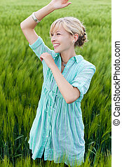 happy young smiling woman
