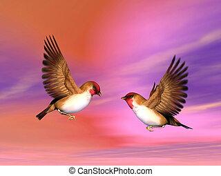 Scarlett finch birds couple - 3D render - Two beautiful...