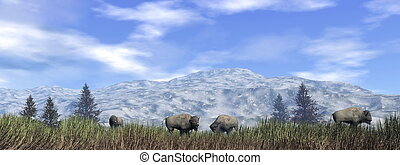 Bisons in the nature - 3D render - Herd of bisons in the...