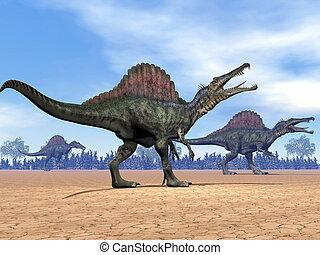 Spinosaurus, dinosaurios, caminata, -, 3D, render