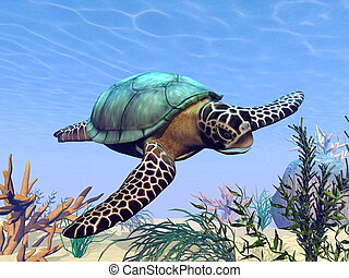 Sea turtle in the sea - 3D render - Beautiful sea turtle...