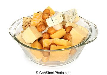 Vário, tipos, queijo, vidro, tigela