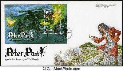 ALDERNEY - CIRCA 2010: A stamp printed in Alderney shows Scene from Peter Pan, by David Wyatt, 150th anniversary of the birth of JM Barrie, circa 2010