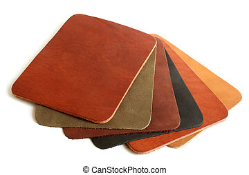 Natural variegated leather on white background