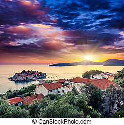 sea - Sveti Stefan, small islet and resort in Montenegro...