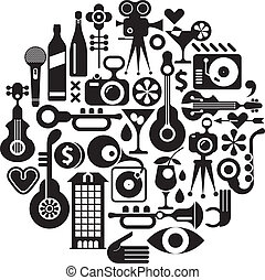 Music and Movie - isolated round vector illustration. Black...