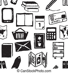 doodle bookshop seamless pattern