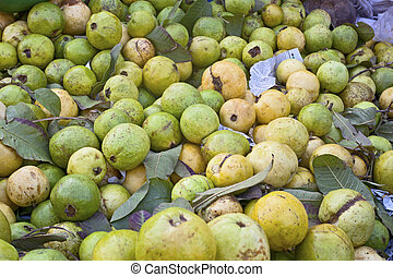 Guavas from the indian market background