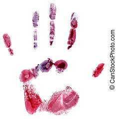 Colorful hand print isolated on white background