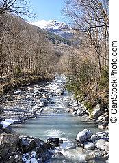 Mountain river in Elm region, Switzerland