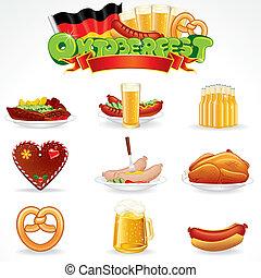 Oktoberfest Food and Drink Icons. Clip Art - Oktoberfest...