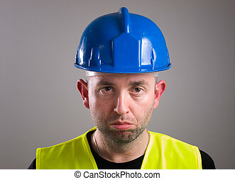 Portrait of a worker expressing negativity and isolated on...