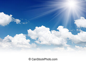 sky - White fluffy clouds in the blue sky
