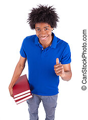 Young black teenage student men holding books - African...