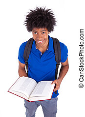 Young black teenage student men reading a books, isolated on white background - African people