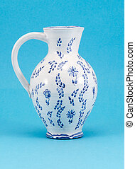 hand made aged jug jar art pitcher paint ornaments