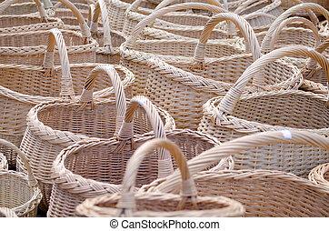 mimbre, hechaa mano, de madera, Diy, cesta, calle, Mercado