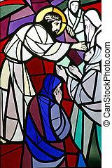 8, estaciones, cruz, Jesús, encuentra, hijas,...